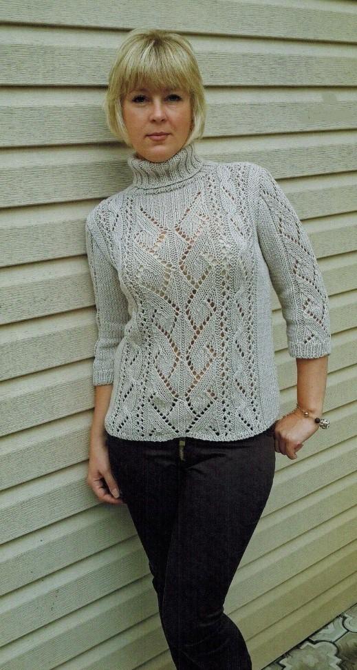 bezhevyj pulover spicami zhenskij - Вязаный бежевый пуловер спицами женский