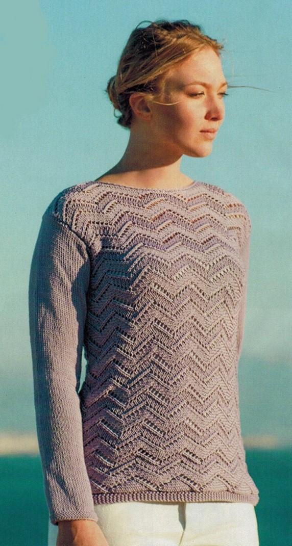 пуловер связанный поперек спицами