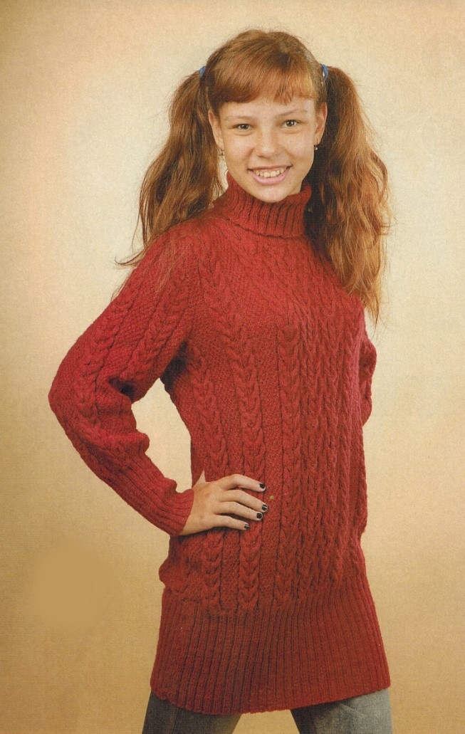 sviter s kosami dlja devochki 12 let spicami - Вязаный пуловер для девочки спицами