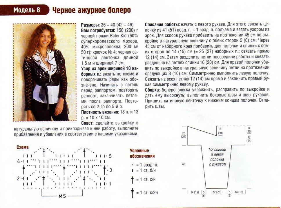bolero kryuchkom 6 - Вязаное болеро крючком схемы и описание для женщин