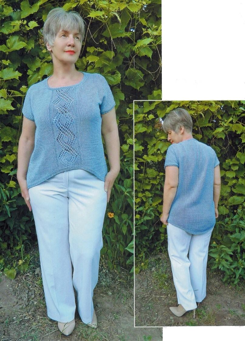 голубая туника спицами вязание голубой туники спицами