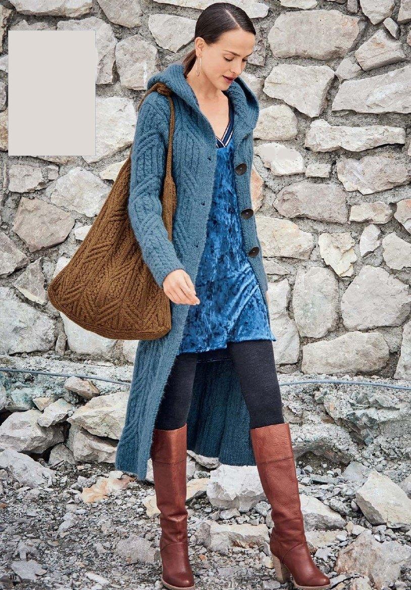 palto s kapjushonom spicami - Вязаное пальто спицами для женщин схемы и описание