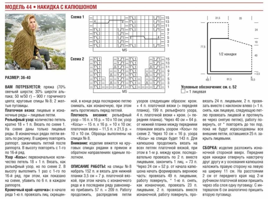 poncho s kapyushonom spicami 3 - Вязаное пончо с капюшоном спицами схемы и описание