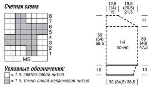 poncho s kapyushonom spicami shema - Вязаное пончо с капюшоном спицами схемы и описание