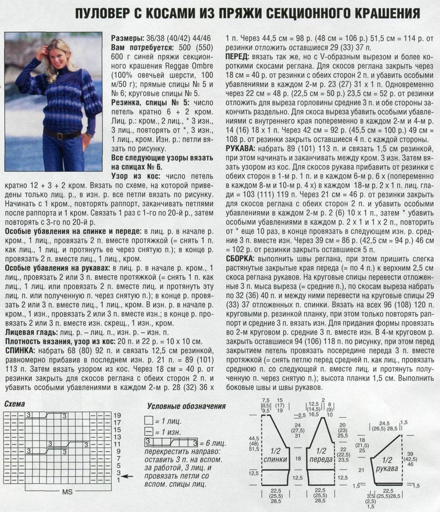 pulover iz sekcionnoj pryazhi spicami zhenskij 3 - Вязаный пуловер из секционной пряжи спицами женский