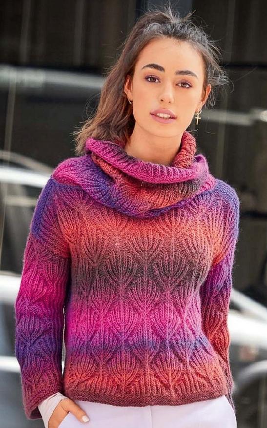 пуловер из секционной пряжи спицами женский