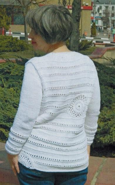 pulover iz xlopka spicami 2 - Вязаный пуловер из хлопка спицами