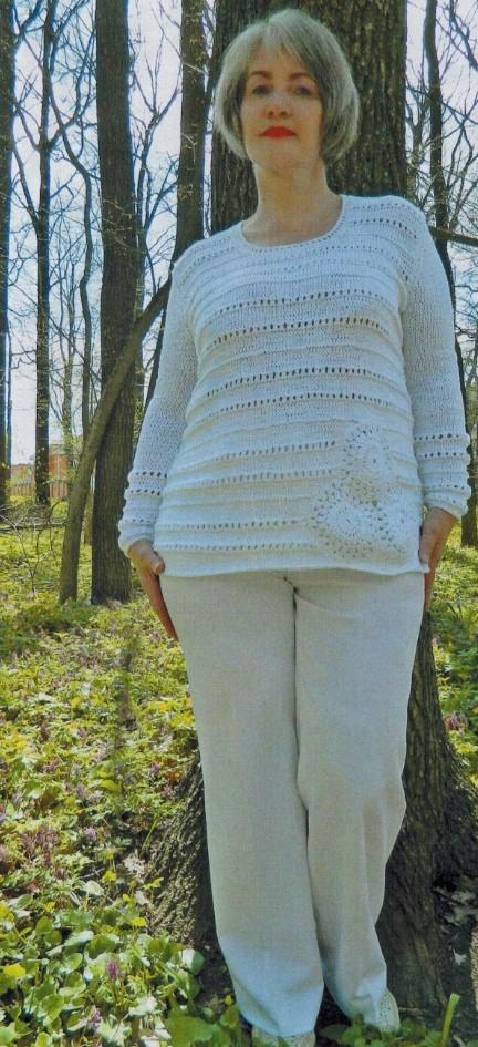 пуловер из хлопка спицами