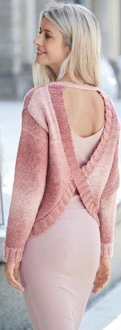 пуловер с вырезом на спине спицами