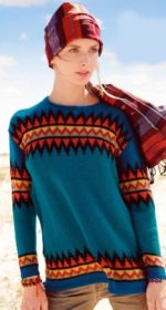 pulover s zhakkardovym uzorom spicami 150x280 - Вязаный пуловер с жаккардовым узором спицами женский