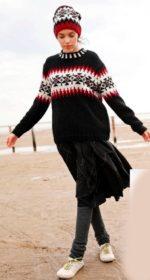 pulover s zhakkardovym uzorom spicami zhenskij 150x280 - Вязаный пуловер с жаккардовым узором спицами женский