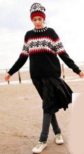 пуловер с жаккардовым узором спицами женский