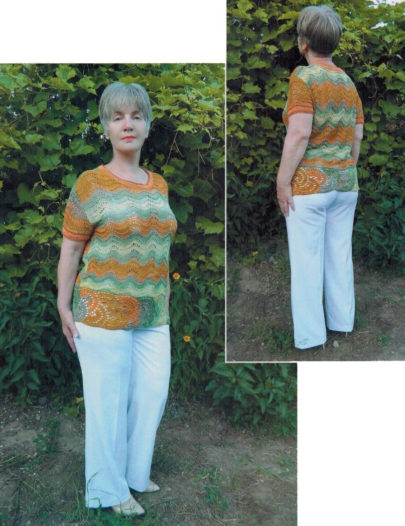 pulover spicami zigzag - Вязаный пуловер спицами зигзаг