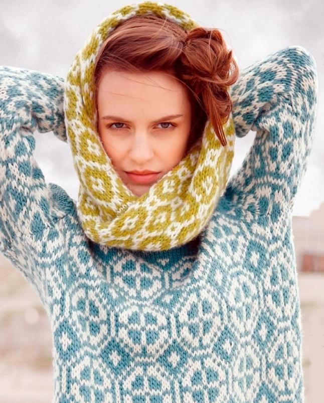 sharf petlya 1 - Вязаный шарф петля спицами