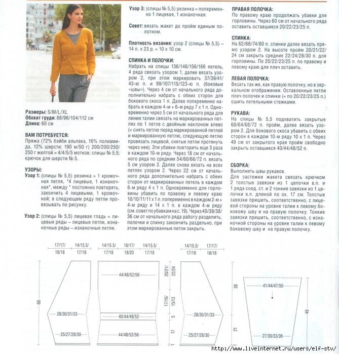 zhaket s zapaxom spicami 3 - Вязаный жакет с запахом спицами схемы и описание