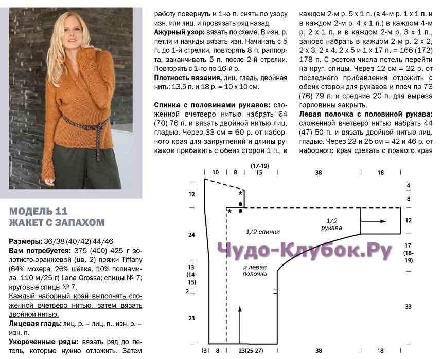 zhaket s zapaxom spicami 5 - Вязаный жакет с запахом спицами схемы и описание