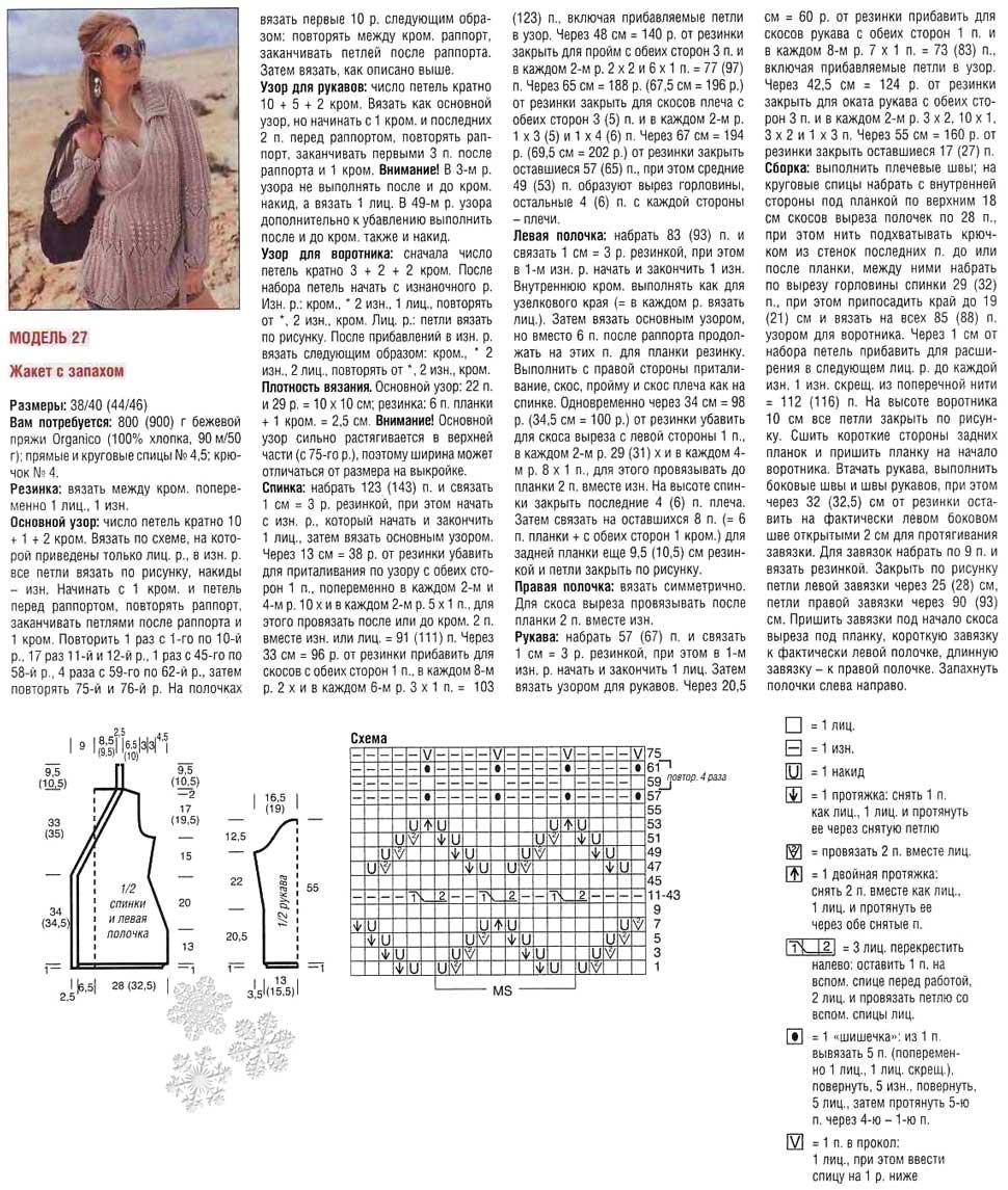 zhaket s zapaxom spicami 7 - Вязаный жакет с запахом спицами схемы и описание