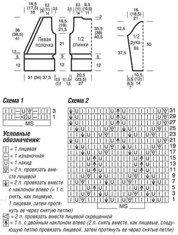 zhaket s zapaxom spicami shema - Вязаный жакет с запахом спицами схемы и описание