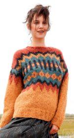 zhakkardovyj pulover spicami s krupnym uzorom 150x280 - Вязаный жаккардовый свитер спицами женский