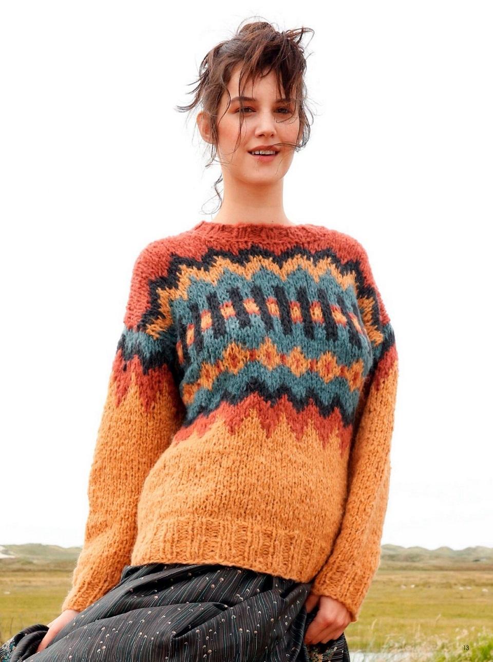 zhakkardovyj pulover spicami s krupnym uzorom - Вязаный пуловер с жаккардовым узором спицами женский