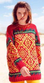 zhakkardovyj pulover spicami zhenskij 150x280 - Вязаный пуловер с жаккардовым узором спицами женский