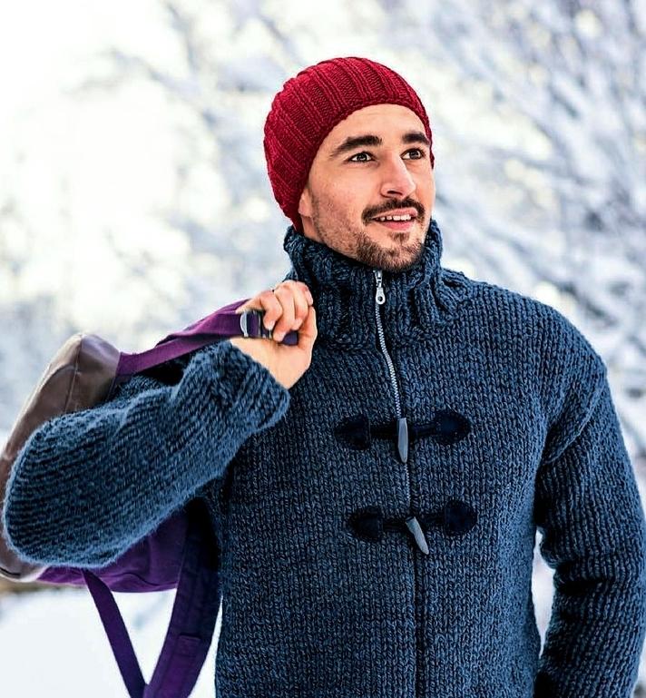 shapka muzhskaja spicami rezinkoj 2 na 2 - Мужские вязаные шапки спицами