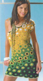 letnee plate iz motivov krjuchkom 150x280 - Вязаное платье из мотивов крючком схемы и описание