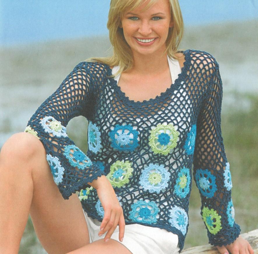 Вязаный пуловер сетка крючком