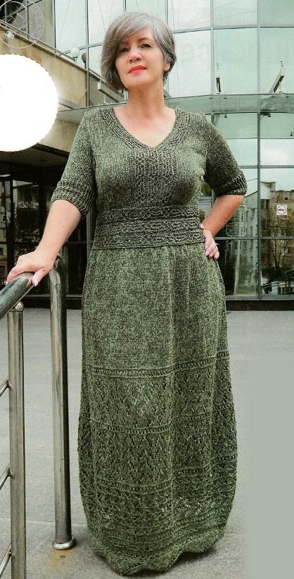Вязаные платья спицами для полных женщин